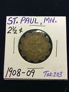 Brass Trade Token 2and1/2 Cent Schwabel Brothers St. Paul Mn. Tok203