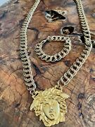 Iconic Gianni Versace Gold-tone Medusa Medallion Chain Necklace And Bracelet 90andrsquos