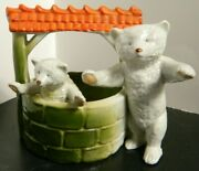 Antique German Porcelain Pink Pigs 2 Polar Bears At Wishing Well Very Good