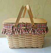 Longaberger Large Hand Woven Picnic Basket Wood Lid And Protector Swinging Handles