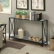 Metal Frame 2-tier Entryway Console Sofa Table With X-design Sides Accent Table