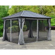 Aleko Aluminum And Steel Hardtop Gazebo 12and039 X 10and039with Mosquito Net And Curtain
