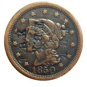 Large Cent/penny Counterstamped 1850 Mid Grade Triple Stamped