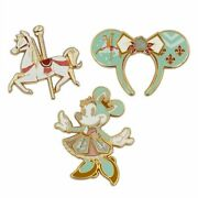 Lot Of 2 Minnie Mouse Main Attraction King Arthur Carrousel Pin Set And Cup