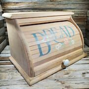 Vintage Large Wooden Hand Painted Bread Box Sliding Door 18 X 11 X 11