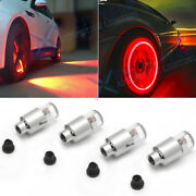 Sporty Red Led Auto Wheel Tyre Tire Air Valve Stem Cap Lights Bulbs Accessories