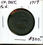 1719 Great Britain 1/2d Coin Fs521