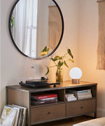 Mason Media Console Minimalist Tv, Record Player And Hiding Away Wooden Drawer