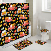 Pumpkin And Red Truck Shower Curtain Toilet Cover Rug Mat Contour Rug Set