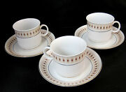 Liling China Fine Porcelain 3 Demitasse Coffee Cups And Saucers Diamond Pattern