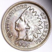 1907 Indian Head Small Cent Choice Unc Free Shipping E180 Acm