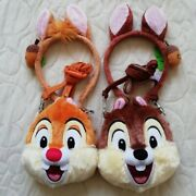 Chip And Dale Headband & Pass Case Pair Set4 Tokyo Disney Resort Ear Hat Coin