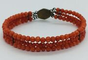 Antique Victorian Red Coral 3 Row Beaded Bangle Bracelet