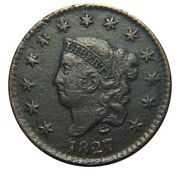 Large Cent/penny 1827 Newcomb 10 Rare