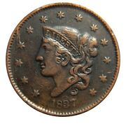 Large Cent/penny 1837 Newcomb 2 Shattered Obverse Collector Coin