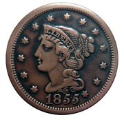 Large Cent/penny 1855 Knob On Ear Variety Early To Mid Die State