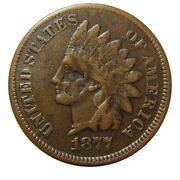 Indian Head Cent/penny 1877 Key Date Vf With Iron Cross Countersamp