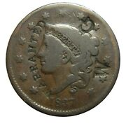Large Cent/penny 1837 Rare Counterstamp Nicely Balanced