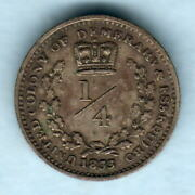 Essequibo And Demerary. 1833 1/4 Guilder.. Vf/gvf