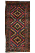 Vintage Afghan Kuchi Balouch Rug, 5'x10', Red/black, Hand-knotted Wool Pile