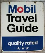 Mobil Travel Guide Old Sign Quality Rated 2x Sided Gas Station Shop Advertising