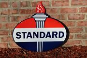 Old Style 23.5 Standard American Motor Oil Gas Torch 2sidesteel Sign Usa Made