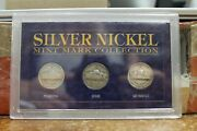 Usa Silver Nickel Mint Mark Collection Set Of 3 Coins P D And S