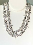 Menand039s Ice Out Rhodium Finish Miami Cuban Link Necklace With Lab Diamond 13mm