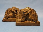 Antique 1930s Lion Of Belfort Pair Cast Metal Bookends Made In Germany Ejc1000