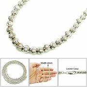 Mens Womens 10k White Gold Diamond Cut Beaded Moon Dog Tag Chain Necklace