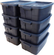 Rubbermaid 10 Gal Storage Totes Containers 8 Pieces Roughneck Bin Garages Box