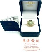 Vintage 14k Yellow Gold Celedon Jadeite Jade Ring Nib Jewels Of The Orient 4.3 G