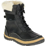 Merrell Waterproof Leather Boots Womenand039s Size 6 Faux Fur Collar Breathable Black