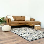 Mid Century Modern Brooklyn Genuine Leather Sectional Sofa Right Facing In Tan