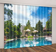 3d Tropical Landscape Swimming Pool Window Curtains Mural Blockout Drapes Fabric