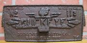 Buckeye Incubator Antique Cast Iron Cover Panel Sign Embossed Farm Feed Seed Usa