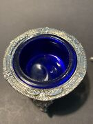 Cobalt Glass And Silver Salt Cellars With Lion Head And Claw Foot Legs