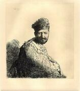 Rembrandt Van Rijn Bearded Man In A Furred Oriental Cap And Robe Etching