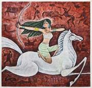 Hua You Zhong Archer On Horse Acrylic And Mixed Media On Paper Signed