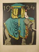 Unknown Artist Indian Elephant Poster Signed Illegibly L.r.
