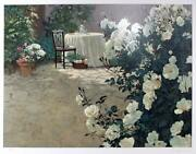 Jurgen Table With White Roses Lithograph Signed And Numbered In Pencil