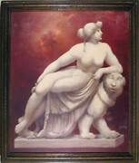 H. Skapowsky, Statue Of Woman And Lion, Oil On Board, Signed L.r.