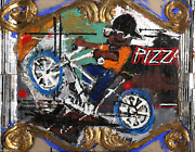 Loren Munk Pizza Mixed Media With Oil Gold Leaf Mirror On Canvas Signed