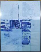 S. Szlenko Untitled - Blue Abstract Acrylic On Paper Signed