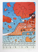 Peter Max Umbrella Lady 15 Lithograph Signed And Numbered In Pencil
