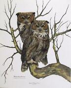 Richard Evans Younger, Great Horned Owl, Lithograph, Signed In Pencil