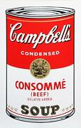 Andy Warhol Campbelland039s Soup Can Consomme Beef Sunday B. Morning Screenprint