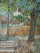 Donald Schrom City Park Crayon And Gouache On Paper