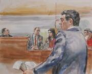 Marshall Goodman Courtroom 143 Watercolor On Paper Signed