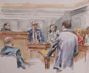 Marshall Goodman Courtroom 144 Watercolor On Paper